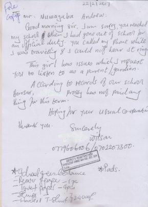 Prossy - Deputy Headteacher's communication