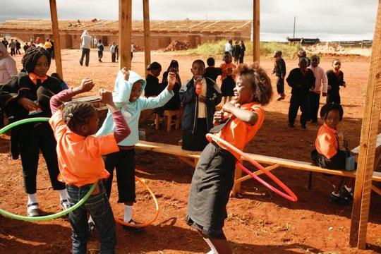 Students enjoying recess at their new school!