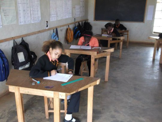 Working hard during the exam