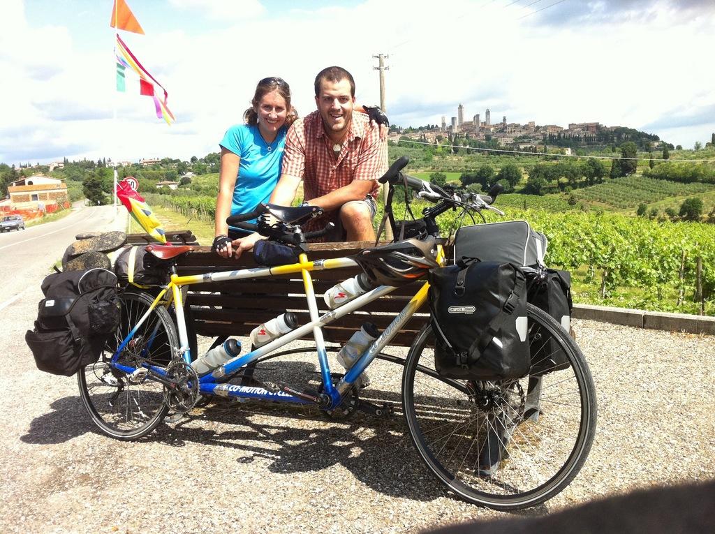 Katy & Abe with their trusty stead - a Tandem Bike