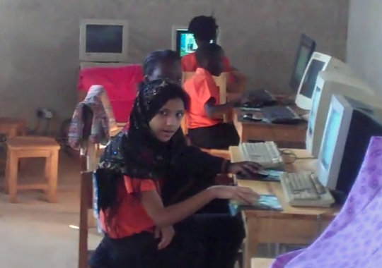 Students are eager to use the new computer lab
