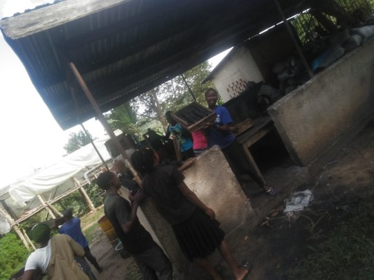 the student youth on briquette extruding exercise