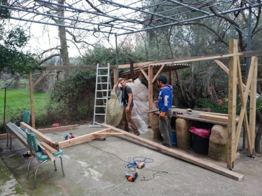 Building a roof for our outdoor kitchen