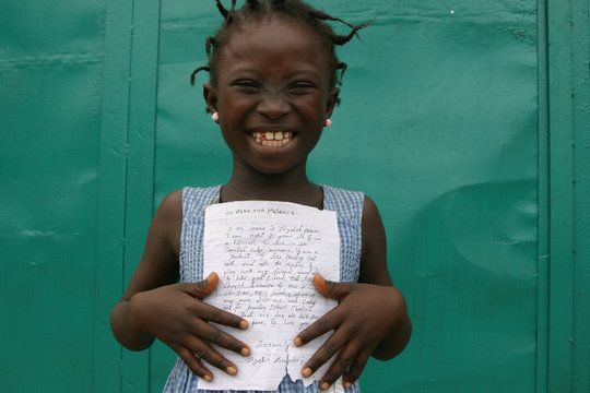 Elizabeth writing to her penpal in Connecticut,USA