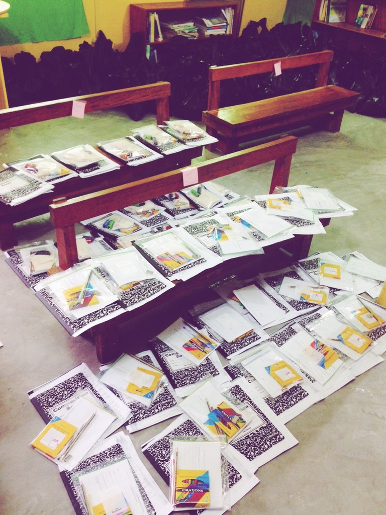 Workbooks before being packed up!