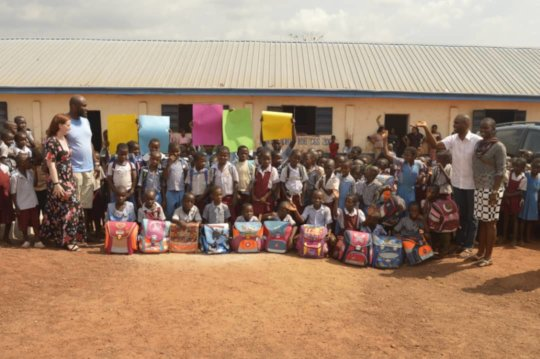 Some students with their school bags