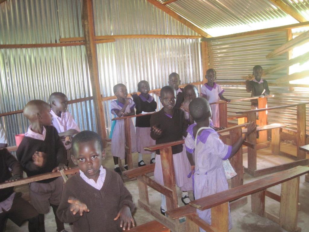 Pupils in school building