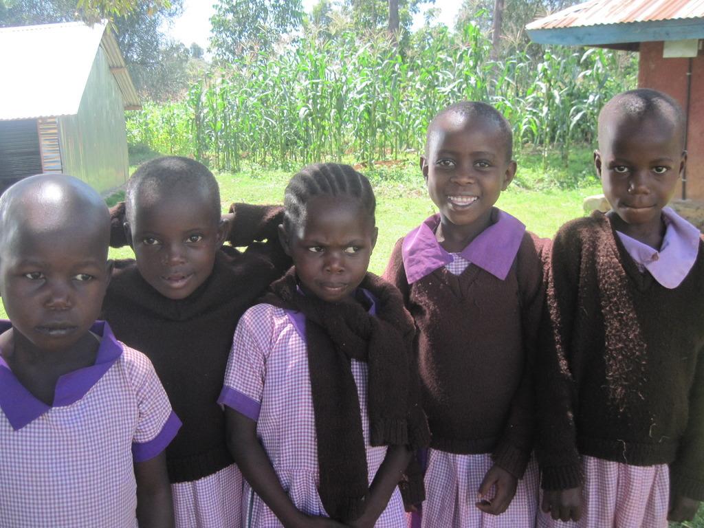 Pupils attending school in new school building