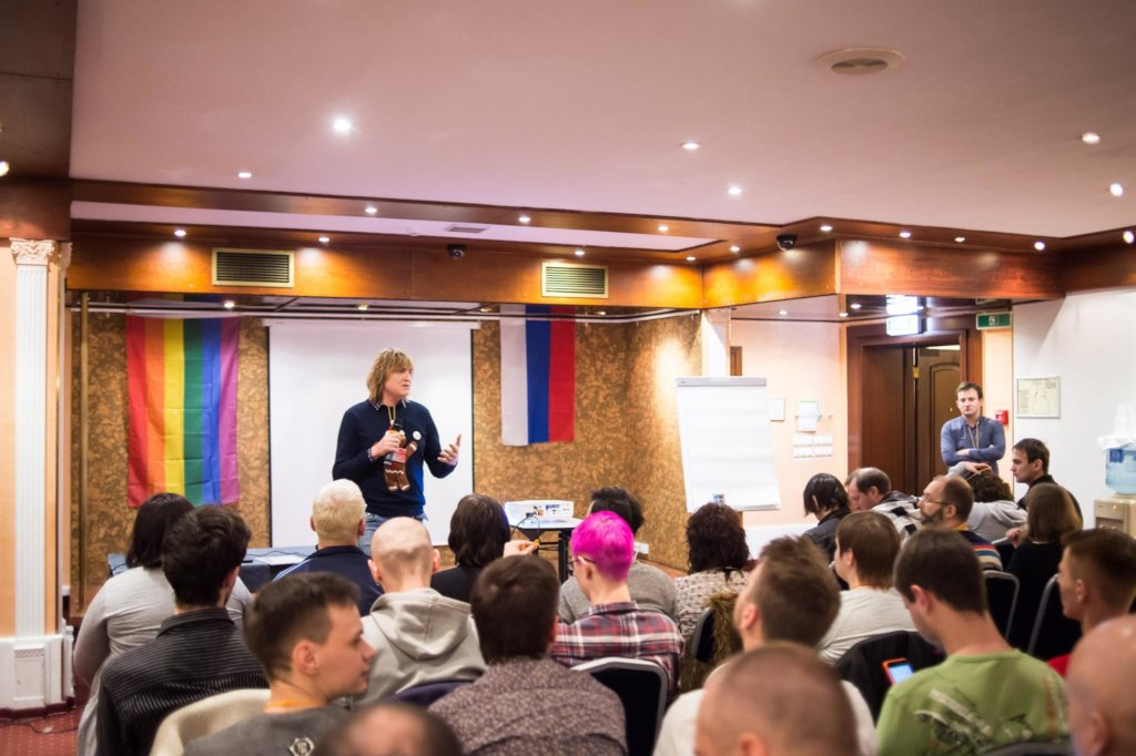 Chief editor presenting at Russian LGBT conference