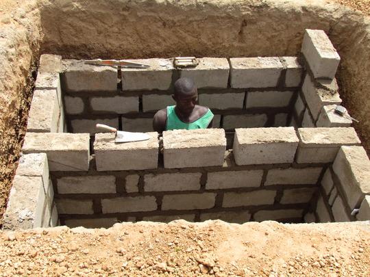 The composting latrine is dug