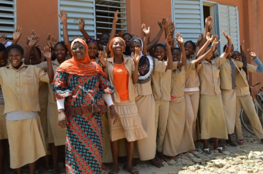 Madame Zalle, our project leader & female students