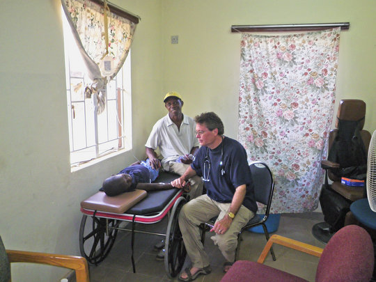 Dr. Jim administering IV fluids