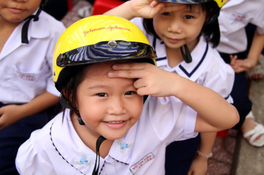 A student at a 2015 road safety education event.