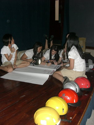 Students at the Helmet Fitting Workshop