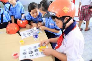 Students play traffic safety games