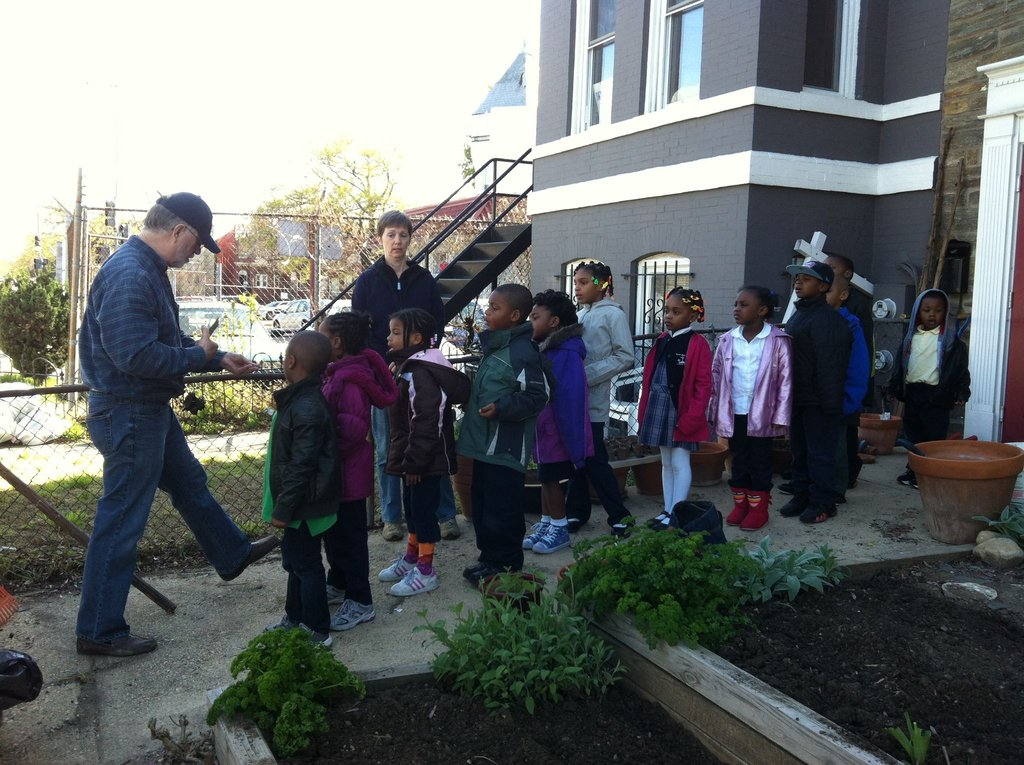 Our Kindergarten class in the garden
