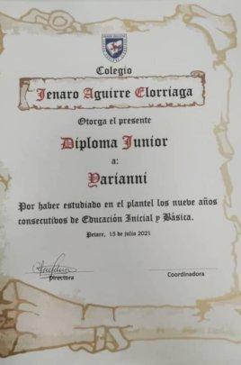 Diploma Jenaro Aguirre School - July 2021
