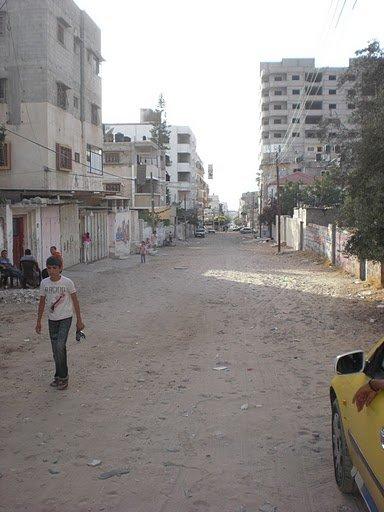 Street in front of Al Basma Club in Gaza City