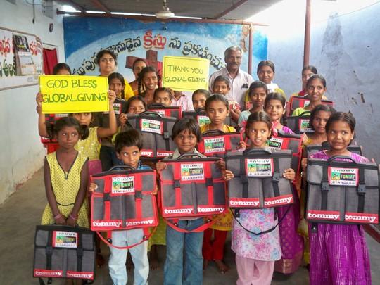 Children joyfully conveying their gratitude