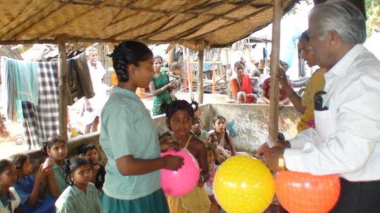 joyfully receiving playing balls