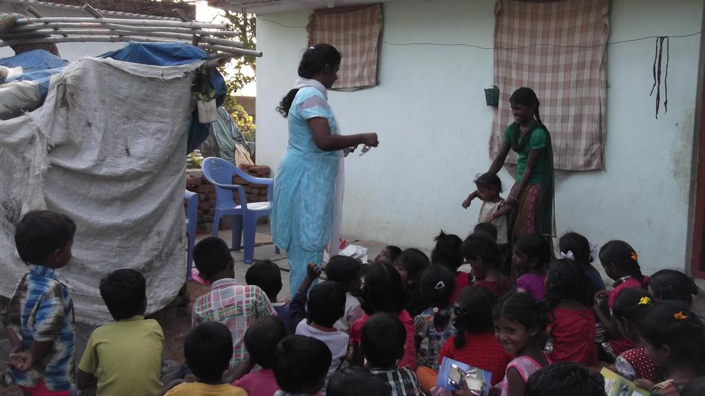children excited to receive school needs