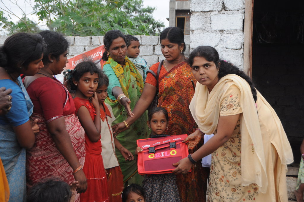 GIRL CHILD RECEIVING NEEDS FROM ADMIN.CO-ORDINATOR