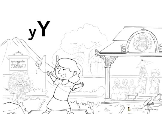 Black and white draft of the poster for letter Y