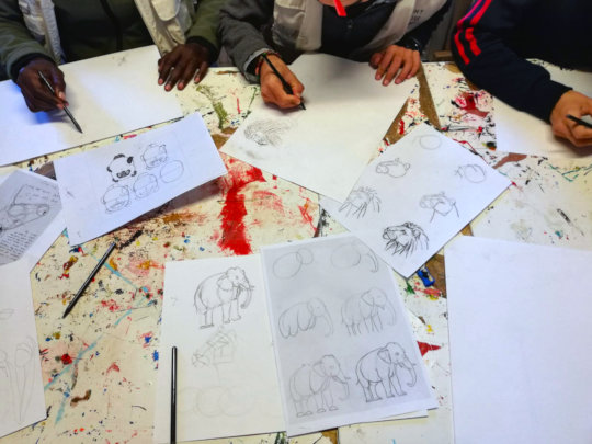 A charcoal drawing workshop in the YES