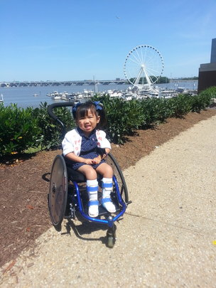 Laila and her new wheelchair