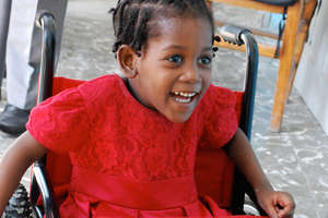 Diana, first wheelchair recipient at St. Vincent's