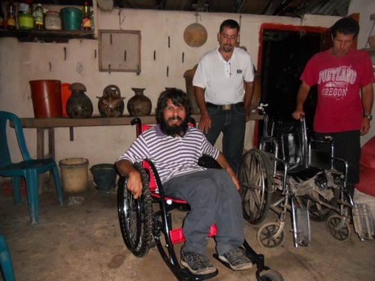 Juan in his new all terrain wheelchair