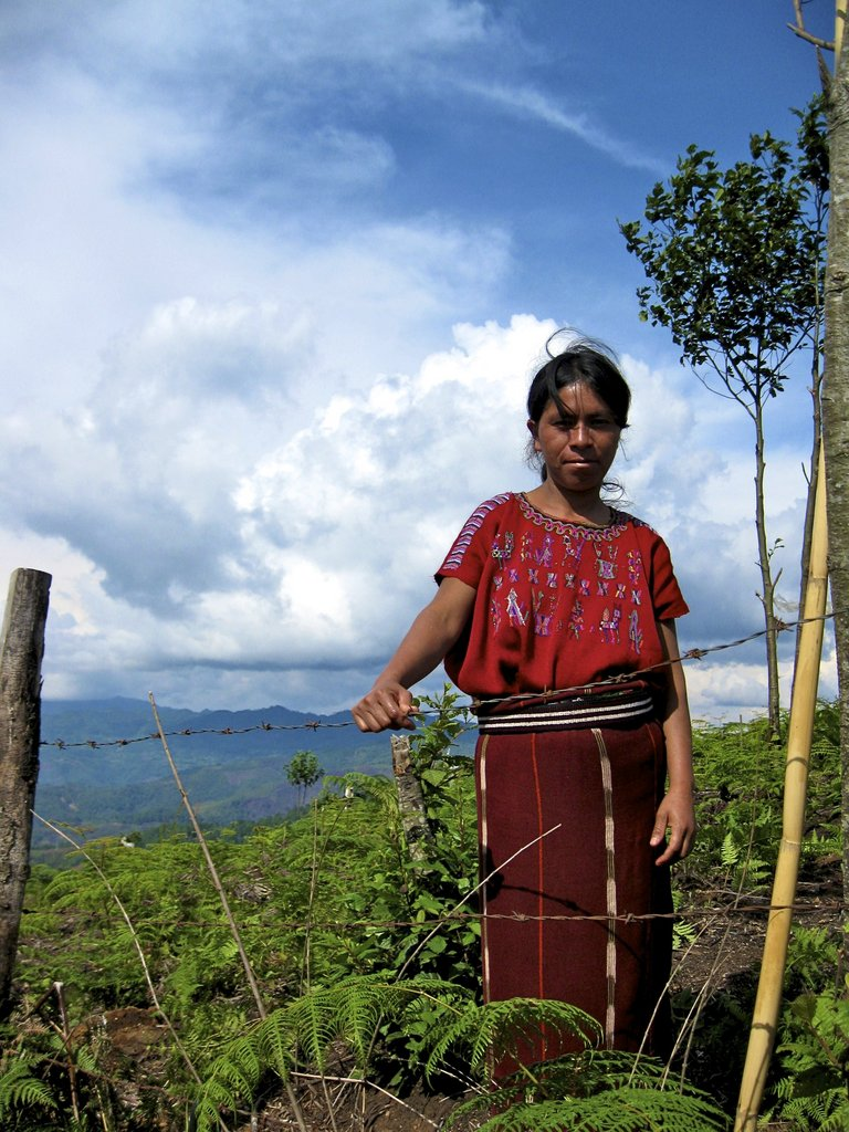 A woman , a resident of the village, stands at the edge of farmland.  Fetching water and laundry will be easier for her, allowing her to spend more time with family.