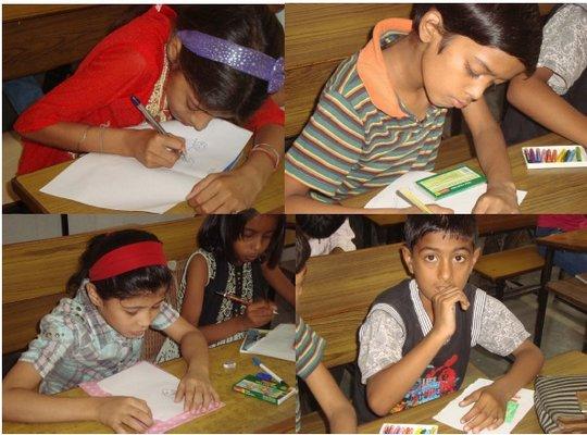 Children in action during workshop