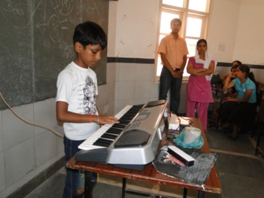 A child showcasing his talent
