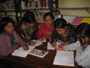 Elementary school girls working on their homework