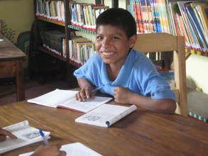 Antonio Jeremias Caba López enjoying the library
