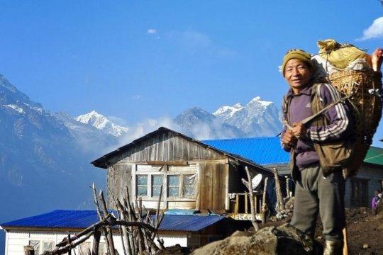 Trekking porter in Nepal.