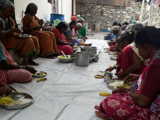 Eldely women having nutritious meal at oldage care