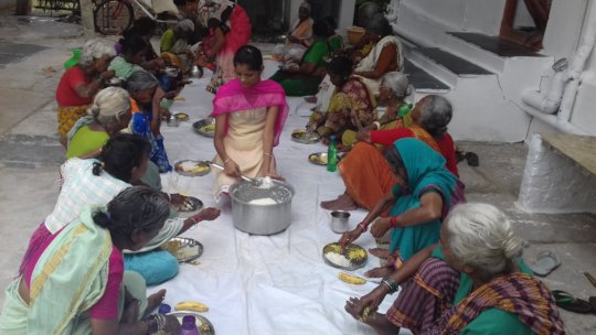 Midday meal donation for poor old age people