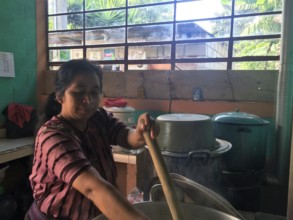 Cooking a nutritious meal for our students