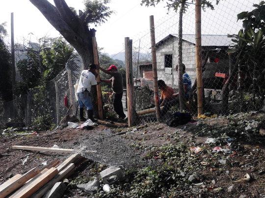 Working on the Nueva Vida garden