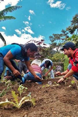 Teachers from Chacaya having fun in the garden
