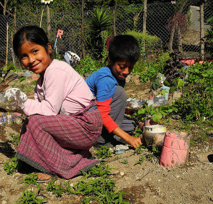 Students working in the Chacaya garden