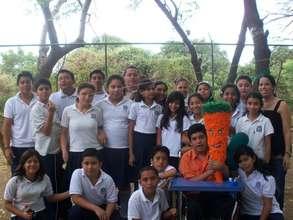 Daniel with his 7th grade classmates