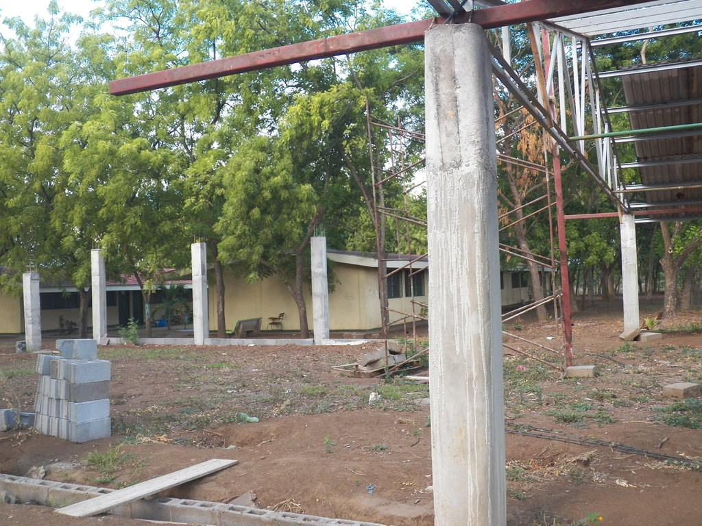 Side view of auditorium construction project