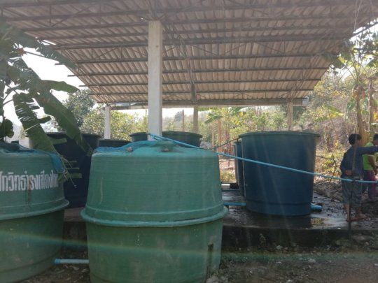 Plastic storage tanks at Baan Mai Sang Naam