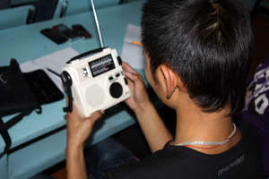 Students working with new radios