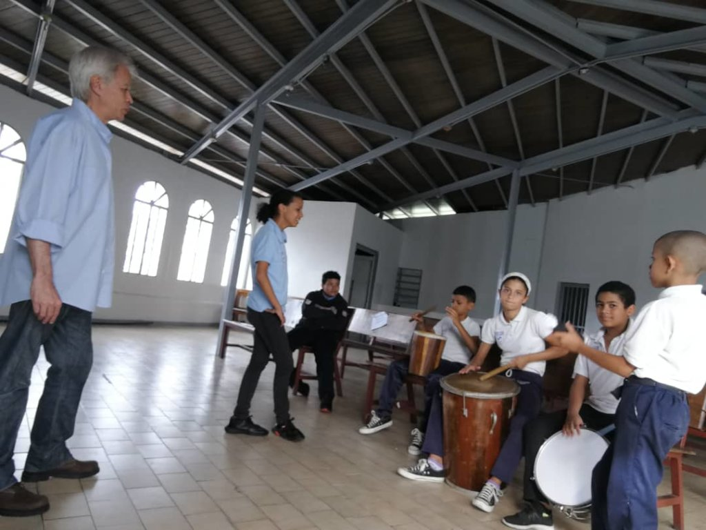 Percussion class in Corazon de Maria
