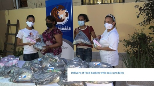 Delivery of food baskets with basic products