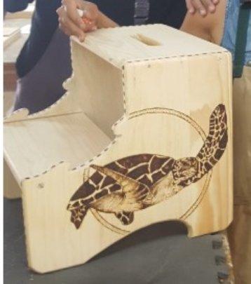 Beautiful image of turtle handmade on stepstool
